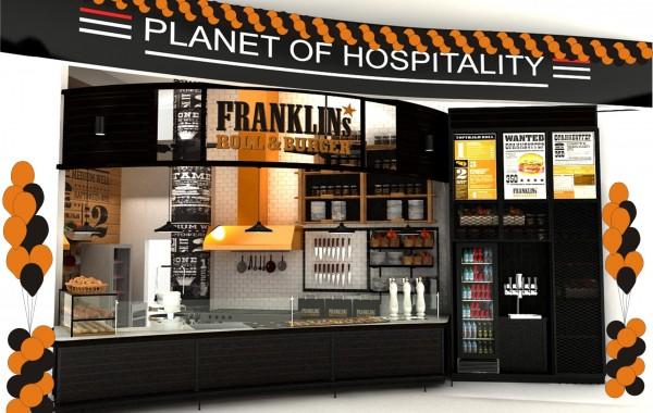 Оформление шарами и проведение промо на открытии ресторана Franklins roll&Burger в Шереметьево