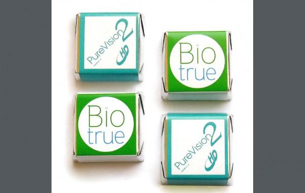 Шоколад с логотипом 10г. «Biotrue Oneday», «Pure Vision 2 HD»